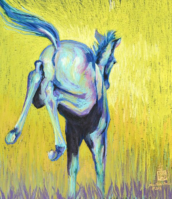 Foal Pastel - Foal At Play by Sally Buffington