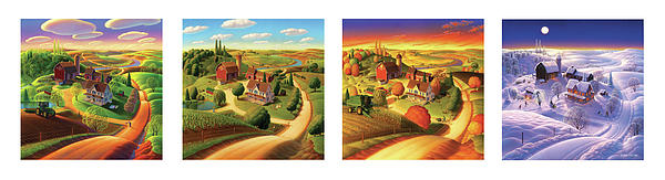 Four Seasons On The Farm Painting  - Four Seasons On The Farm Fine Art Print