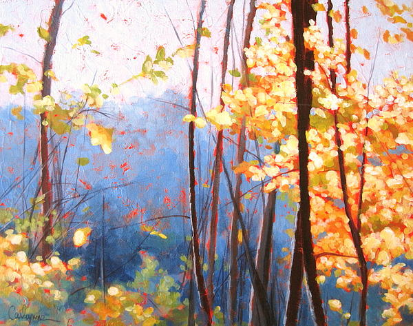 Landscape Painting - Golden Leaves by Carlynne Hershberger