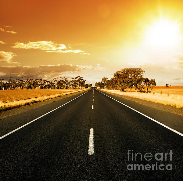 Golden Sky Photograph - Golden Sky And Road by Boon Mee
