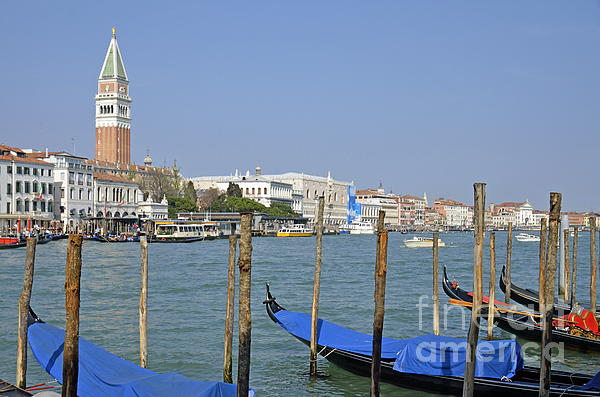 Bell Tower Photograph - Gondolas At Pier By Grand Canal by Sami Sarkis