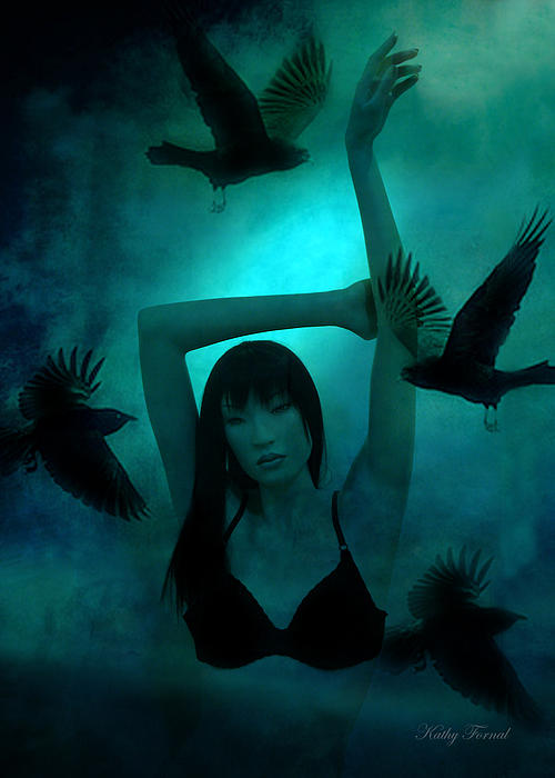 Gothic Art Prints Photograph - Gothic Surreal Ravens With Asian Girl  by Kathy Fornal