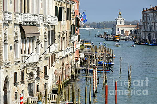 Boats Photograph - Grand Canal View From Academia Bridge by Sami Sarkis