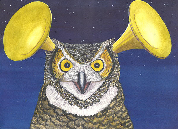 Owl Painting - Great Horned Owl by Catherine G McElroy