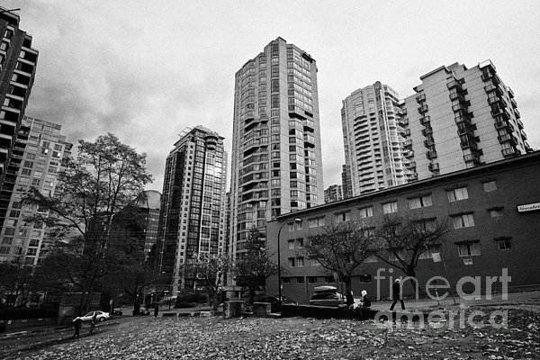 High-rise Photograph - Green Space In Front Of High Rise Apartment Condo Blocks In The West End Between Robson And West Geo by Joe Fox