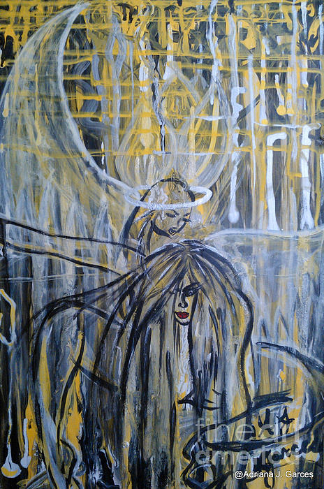 Figurative-abstract Painting - Guardian Whisper by Adriana Garces