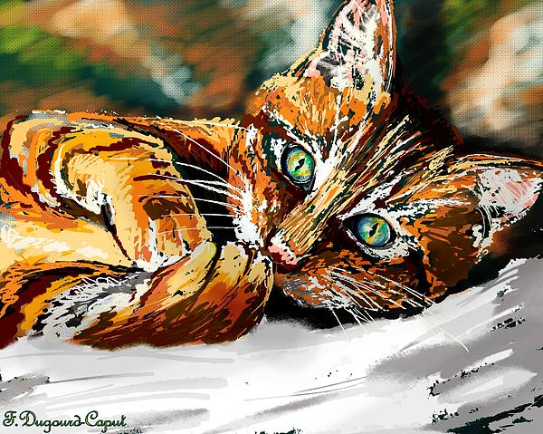 Cats Painting - Haiku  by Francoise Dugourd-Caput