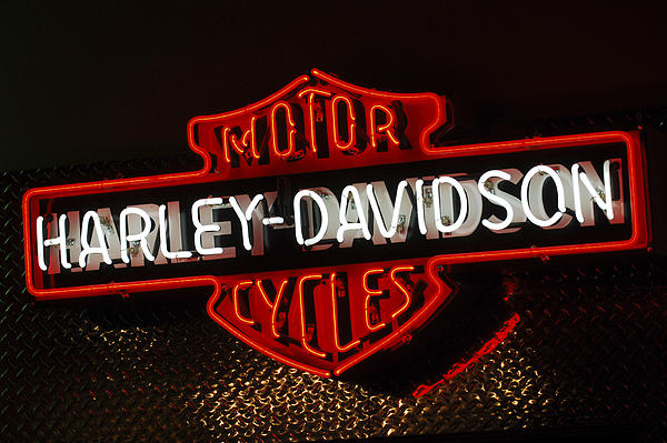 Harley-davidson Motor Cycle Neon Lights 2 Photograph
