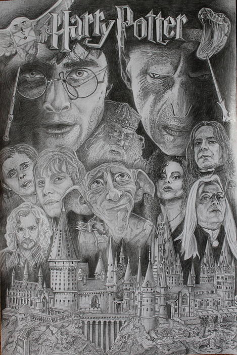 Harry Potter Montage Drawing  - Harry Potter Montage Fine Art Print