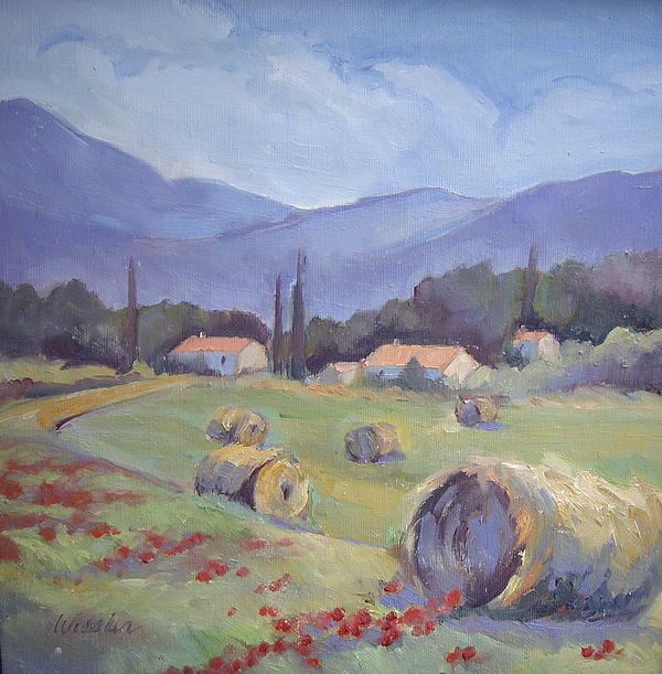 Haybales And Poppies Of Provence Painting  - Haybales And Poppies Of Provence Fine Art Print