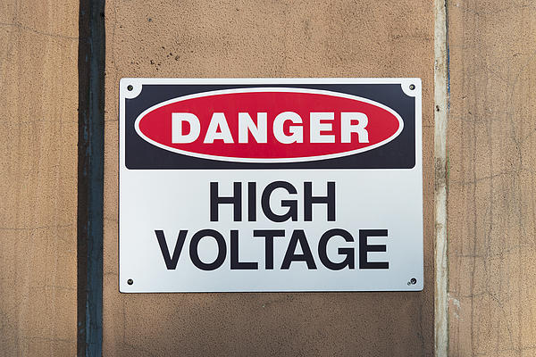 High Photograph - High Voltage Sign by Hans Engbers