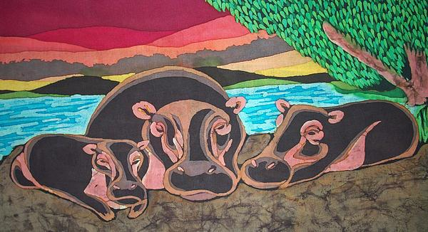Hippo Family Tapestry - Textile