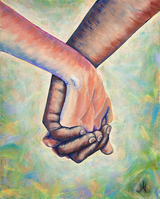 Holding hands painting by angela markwalter for Watercolor paintings of hands
