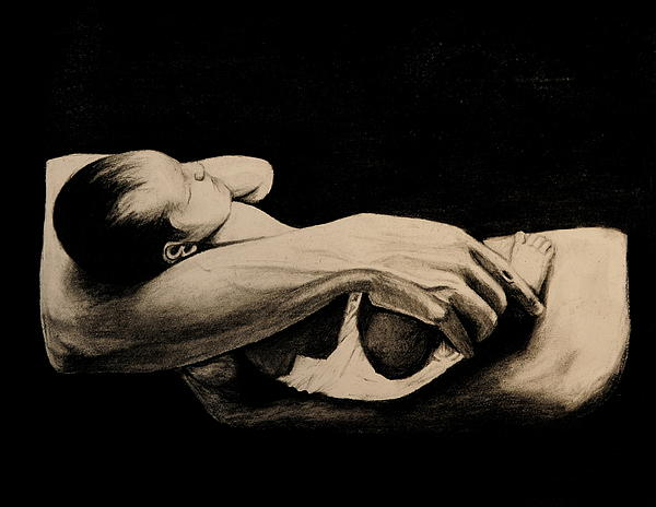 Arms Drawing - In My Arms by Caroline  Reid