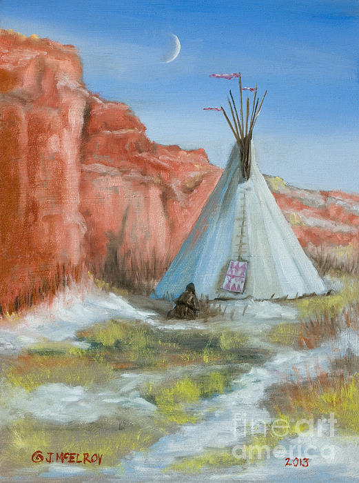 Native Painting - In The Canyon by Jerry McElroy