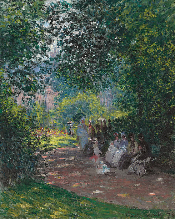 Paris; Parisian; Leisure; Summer; Sunshine; Idyllic; Spring; Seated; Society; Gathering; Women; Female; Bench; Shade; Green; Wooded; Opening; Parasol; Parasols; France; French; Impressionist; Impressionism; Park; Monceau; Monceau Parc; Parc; Paris; Parisian; Leisure; Summer; Sunshine; Idyllic; Spring; Gathering; Women; Female; Bench; Shade; Green; Wooded; French Painting - In The Park Monceau by Cluade Monet