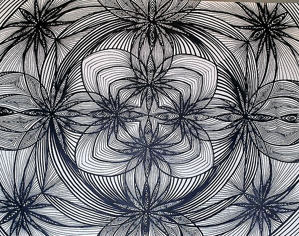 Weed Pot Lines Marijuana Legalize It Black And White Trippy Hippy Abstract Optical Illusion Fractal Crazy Drawing - Janes Waves by Sarah Yencer
