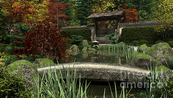 Japanese garden and koi pond autumn digital art by fairy for Japanese koi pond garden