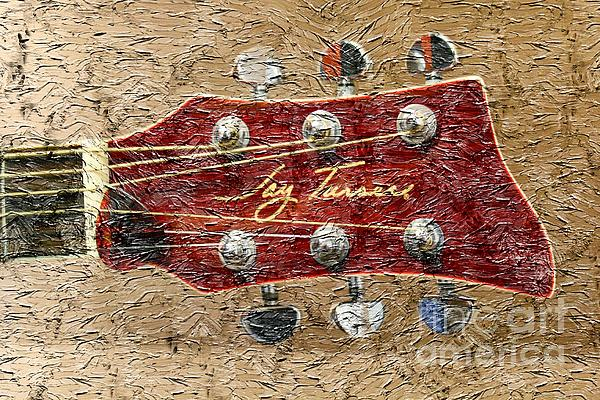 Jay Turser Guitar Head Photograph - Jay Turser Guitar Head - Red Guitar - Digital Painting by Barbara Griffin