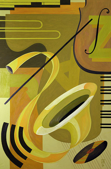 Music Later 20th Century Painting - Jazz by Carolyn Hubbard-Ford