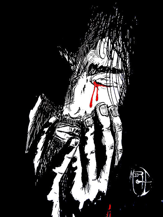 Justin Moore Drawing - Jesus Wept Red Tears by Justin Moore