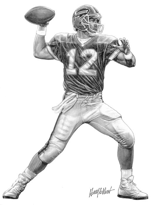 Jim Kelley Drawing - Jim Kelly by Harry West