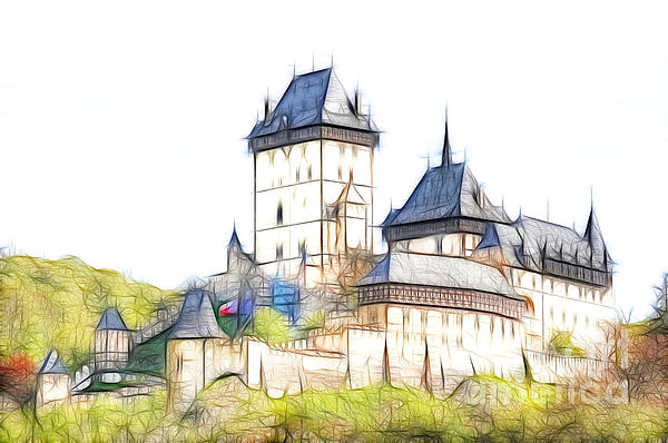 Karlstejn Digital Art - Karlstejn - Famous Gothic Castle by Michal Boubin