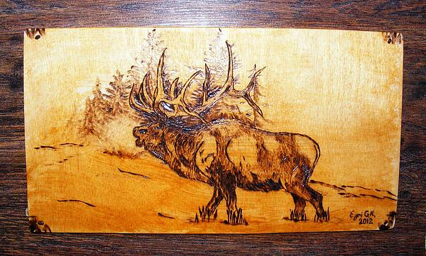 Wood Pyrography Pyrography - Kingof Forest-wood Pyrography by Egri George-Christian