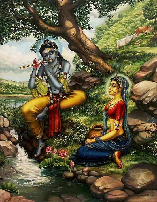 Krishna With Radha Painting  - Krishna With Radha Fine Art Print