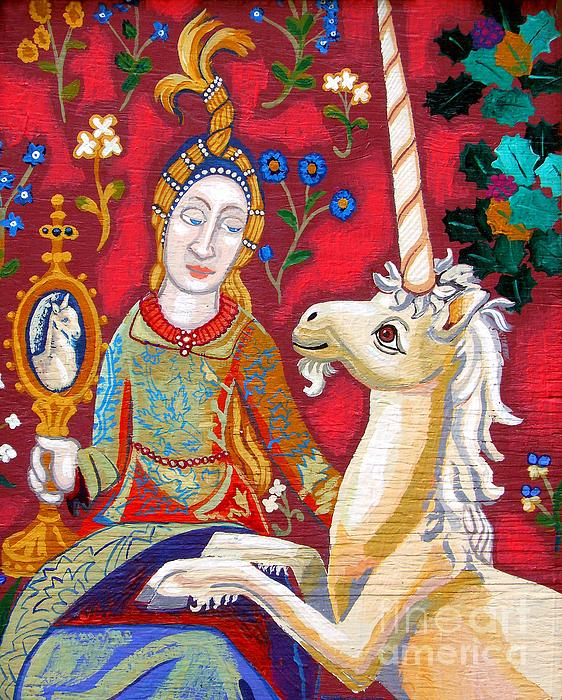 Lady And The Unicorn Painting  - Lady And The Unicorn Fine Art Print