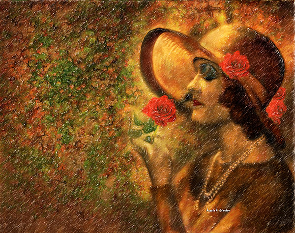 Lady In The Flower Garden Painting  - Lady In The Flower Garden Fine Art Print