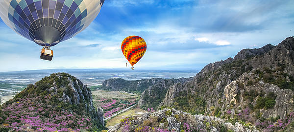 Agriculture Photograph - Lanscape Of Mountain And Balloon by Anek Suwannaphoom