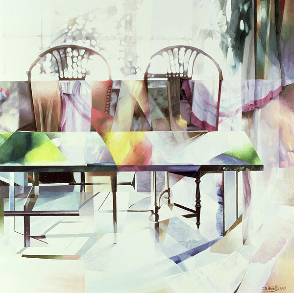 Interior; Table; Light Reflection; Refraction; Rainbow Colour; Chair; Window Painting - Legato by Jeremy Annett