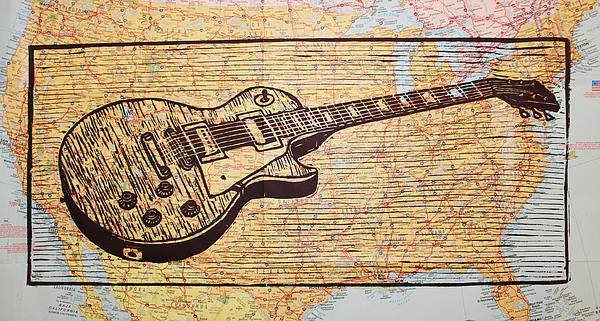 Les Paul Drawing - Les Paul On Usa Map by William Cauthern
