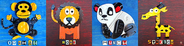 Monkey Mixed Media - License Plate Art Jungle Animals Series 1 by Design Turnpike