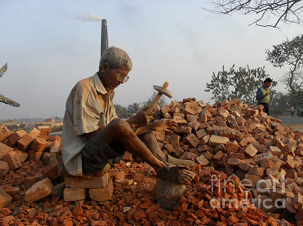 An Old Man Breaking Brick For A Loaf Of Bread Photograph - Life Like This by Shah Aziz