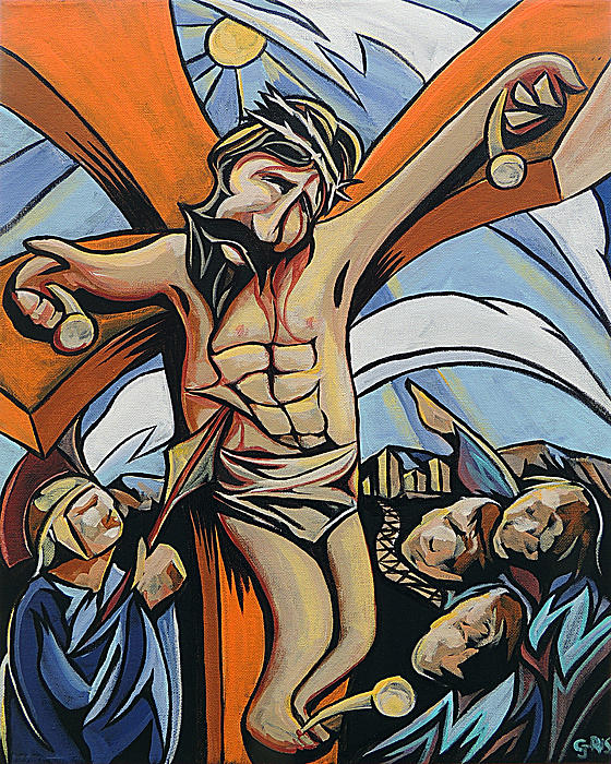 John 3:14 Lifted Up Crucifixion Jesus Sacrifice Accused Lamb Of God Savior Cross Death Christ Messiah   Painting - Lifted Up by Rus Huffstutler