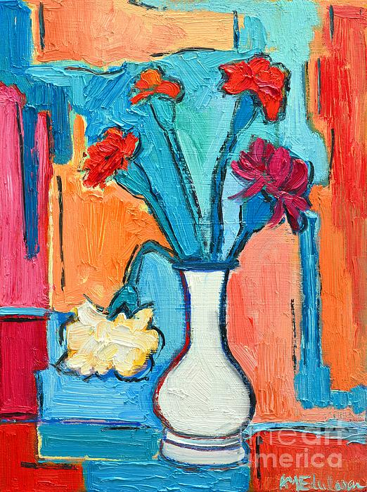 Carnations Painting - Little Carnations China Pink Flowers by Ana Maria Edulescu