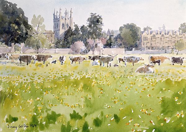 College Painting - Looking Across Christ Church Meadows by Lucy Willis