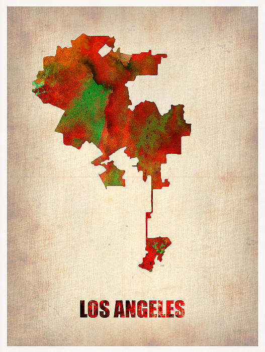 Los Angeles Map Painting - Los Angeles Watercolor Map by Naxart Studio