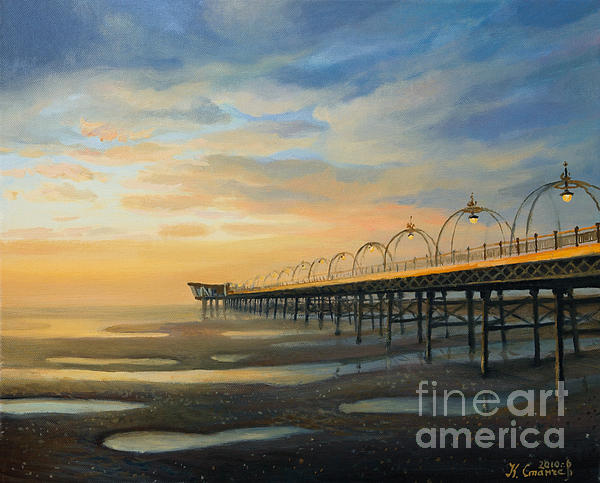 Art Painting - Low Tide In Southport by Kiril Stanchev