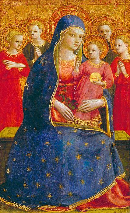Madonna; Child; Angel; Angels; Virgin; Mary; Jesus; Christ; Infant; Gold; Lapis Lazuli; Blue; Red; Decorative; Stylised; Christian; Christianity; Early; Renaissance; Italian; Madonna Painting - Madonna And Child With Angels by Fra Angelico