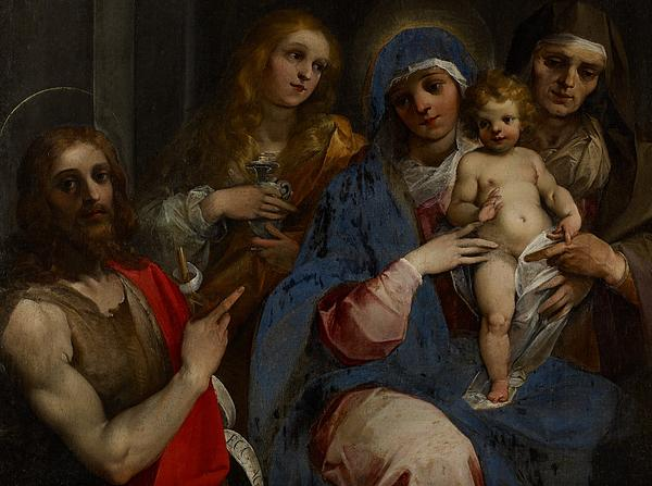 Madonna; Virgin; Mary; Saint; Saints; Jesus Christ; Child; Infant; Baby; St. John The Baptist; Mary Magdalene; St. Anne; Holy Family; Half Length; Pointing; Male; Female; Baroque; Lily; Flower; Holy Grail Painting - Madonna And Child With Saints John The Baptist With Mary Magdalene And Anne by Guiseppe Cesari