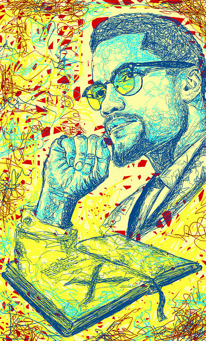 Malcolm X Drawing In Lines Drawing - Malcolm X Drawing In Lines by Kenal Louis