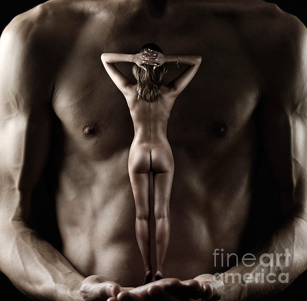 Man Holding A Naked Fitness Woman In His Hands Photograph  - Man Holding A Naked Fitness Woman In His Hands Fine Art Print