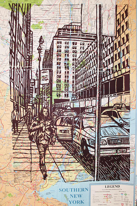 Nyc Drawing - Manhattan On Map by William Cauthern