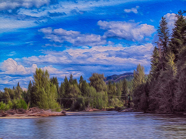 Methow River Crossing Painting  - Methow River Crossing Fine Art Print