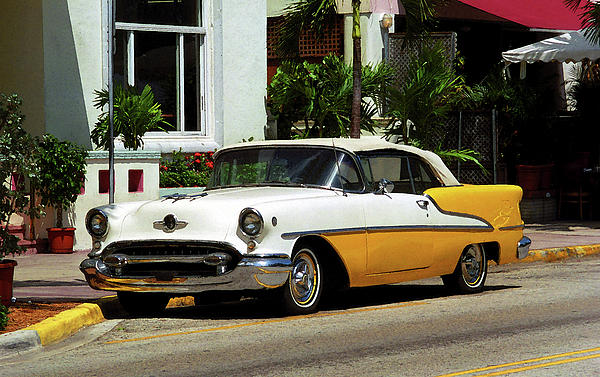 Miami Beach Classic Car With Watercolor Effect Photograph