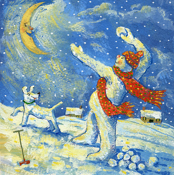 Snowman; Moon; Snow; Dog; Pet; Snowballs; Snowball Fight; Spade; Scarf; House; Entertainment; Christmas; Snowing Painting - Midnight Fun And Games by David Cooke