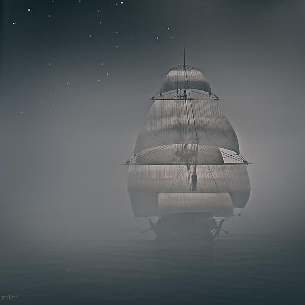 Boat In The Fog Photograph - Misty Sail by Lourry Legarde